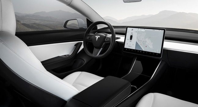 Tesla Model 3 Performance Carro Elétrico Vista Interior
